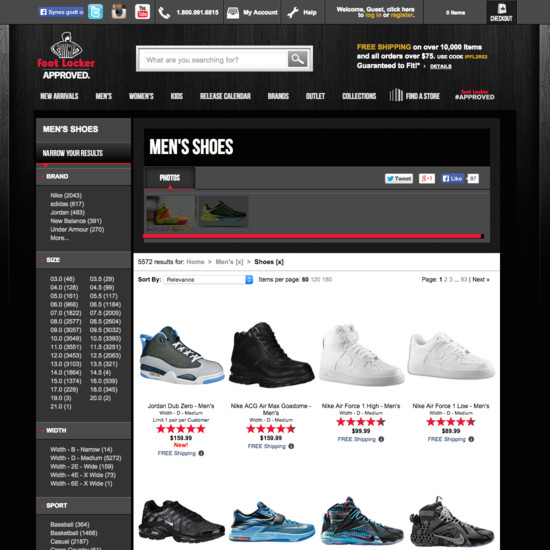 Foot Locker webshop termékoldala